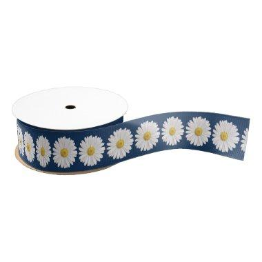 Wedding  White Yellow Shasta Daisy Grosgrain Ribbon
