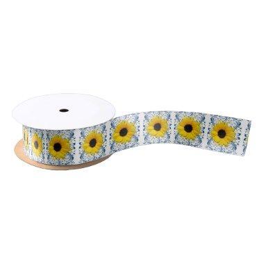 Wedding  Yellow Navy Sunflower Flower Satin Ribbon