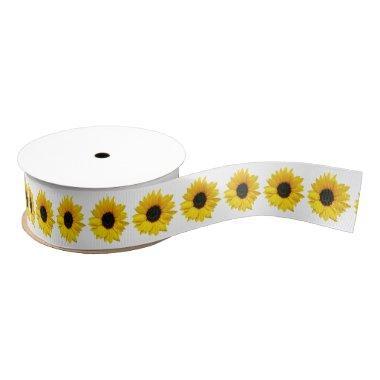 Wedding  Yellow Sunflower Flower 2 Grosgrain Ribbon