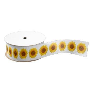 Wedding  Yellow Sunflower Flower Grosgrain Ribbon