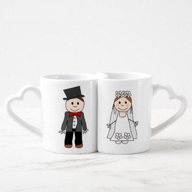 wedding,bride and groom,edit back text coffee mug set