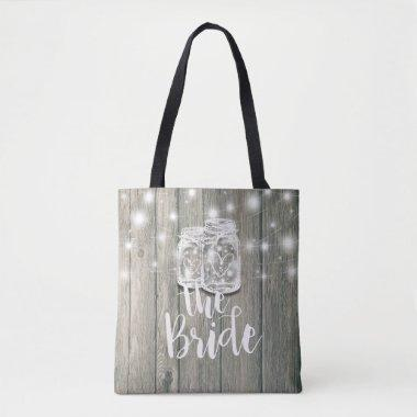 Wedding Brides Rustic Wood Mason Jar String Lights Tote Bag