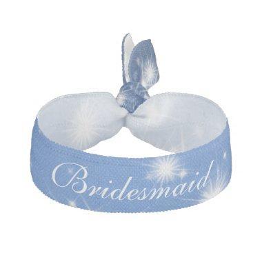 Wedding Bridesmaid Favor Winter Sparkle Blue Ribbon Hair Tie