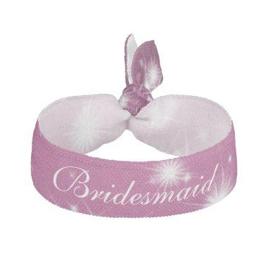 Wedding Bridesmaid Favor Winter Sparkle Pink Elastic Hair Tie