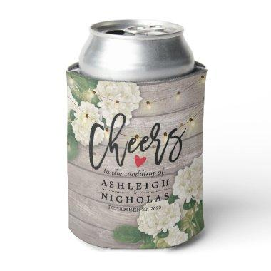 Wedding Cheers to Love Hydrangea String Light wood Can Cooler