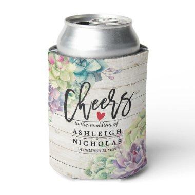 Wedding Cheers to Love Succulent Plant Rustic Wood Can Cooler