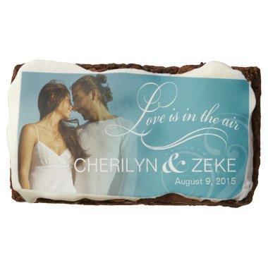 Wedding Couple Photo    ocean blue Chocolate Brownie