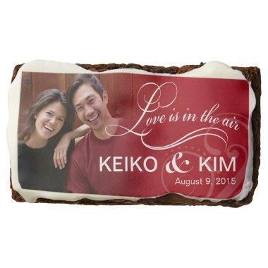 Wedding Couple Photo    red Chocolate Brownie