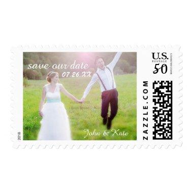 Wedding CUSTOM PHOTO Text Save Date Postage Stamp