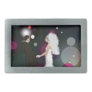 Wedding day rectangular belt buckle