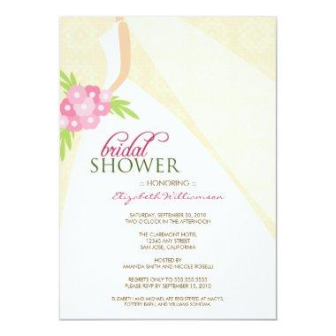 Wedding Dress_2 Bridal Shower Invitations (peach)