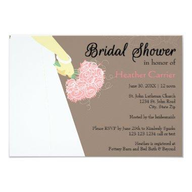 Wedding Dress & Bouquet - 3x5 Bridal Shower Invite