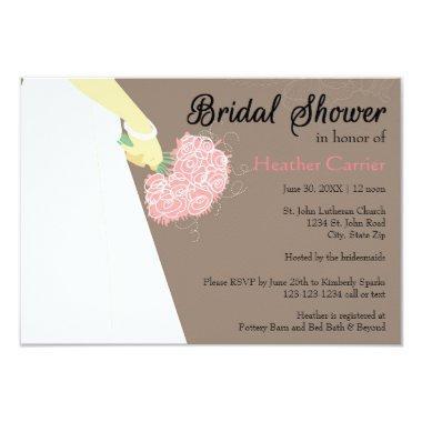 Wedding Dress & Bouquet - 3x5  Invite