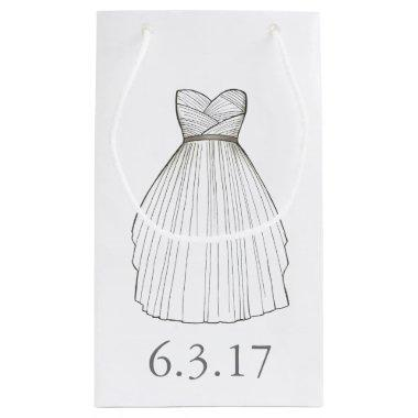 Wedding Dress Gown Bride  Date Small Gift Bag