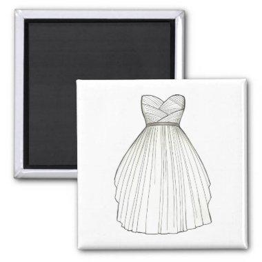 Wedding Dress Gown Bride to Be Bridal Shower Magnet