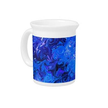 Wedding elegant blue vintage chic pattern beverage pitcher