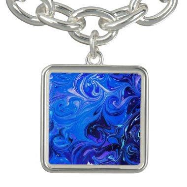 Wedding elegant blue vintage chic pattern charm bracelet