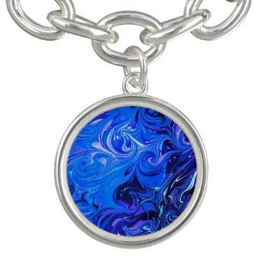 Wedding elegant blue vintage chic pattern charm bracelets