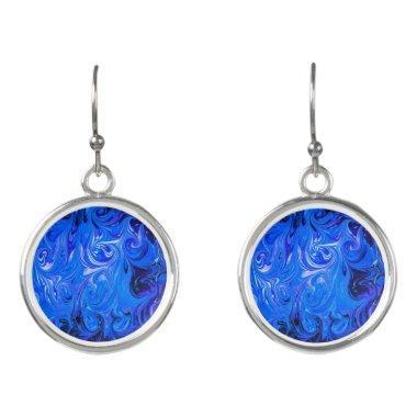Wedding elegant blue vintage chic pattern earrings