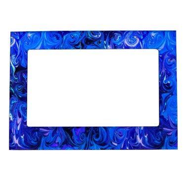 Wedding elegant blue vintage chic pattern magnetic picture frame