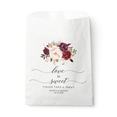 Wedding Favor Bag Love is Sweet Burgundy Marsala
