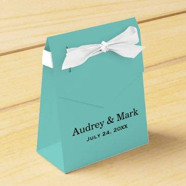 Wedding Favor Box | Aqua Blue with White Ribbon