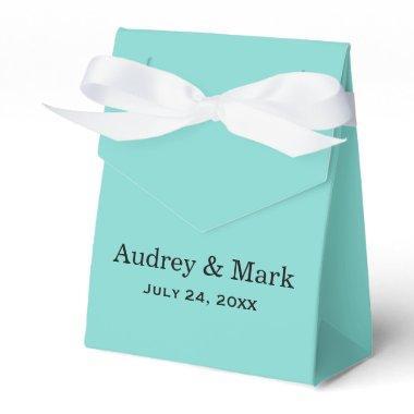 Wedding Favor Box   Aqua Blue with White Ribbon
