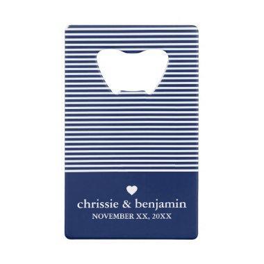 Wedding Favor Custom Bride Groom Date Stripe Credit Invitations Bottle Opener
