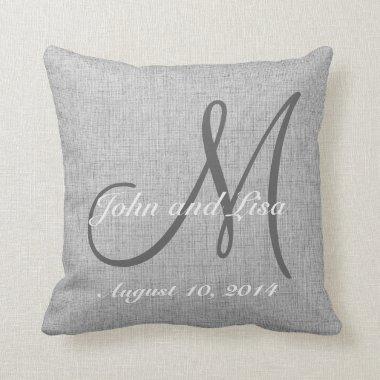 Wedding Gift Monogram Custom Faux Linen Pillow