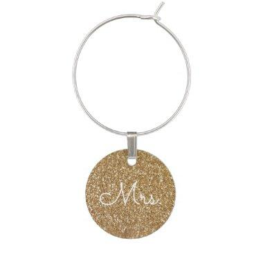 Wedding Gold Glitter and Sparkle Mrs. Bride Wine Charm