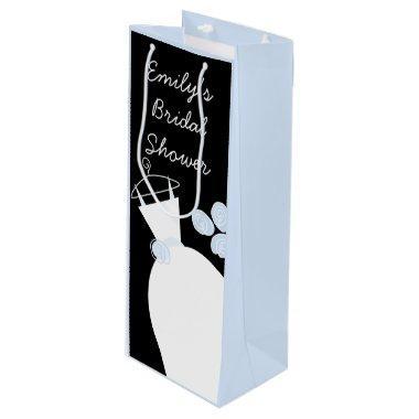 Wedding Gown Blue  black pastel wine Wine Gift Bag