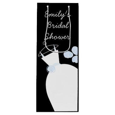 Wedding Gown Blue  black wine Wine Gift Bag