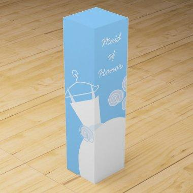 Wedding Gown Blue Maid Honor wine box
