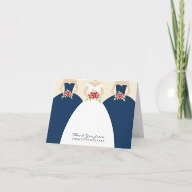 Wedding Gown Bridal Shower Thank You Invitations (navy)