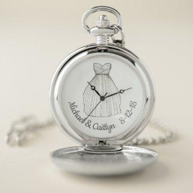 Wedding Gown Personalized Bridal Party Shower Gift Pocket Watch