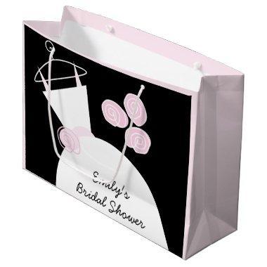 Wedding Gown Pink  black pastel large Large Gift Bag