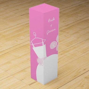 Wedding Gown Pink Bride Groom wine box