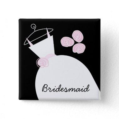 Wedding Gown Pink 'Bridesmaid' black square Button
