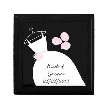 Wedding Gown Pink 'Names Date' black gift box