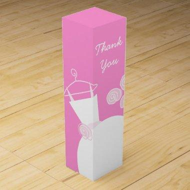 Wedding Gown Pink Thank You wine box