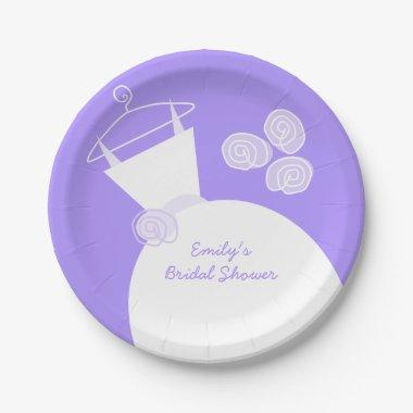 Wedding Gown Purple '' paper plate