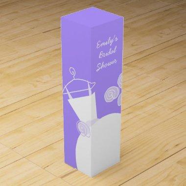 Wedding Gown Purple Bridal Shower wine box