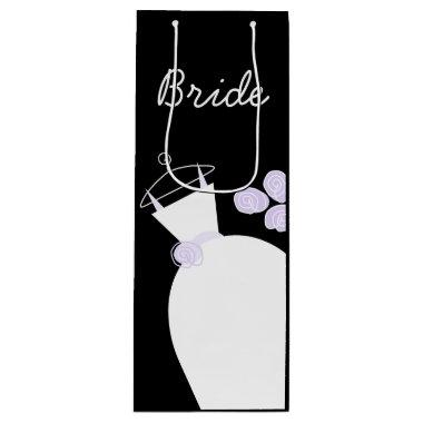 Wedding Gown Purple Bride black wine Wine Gift Bag