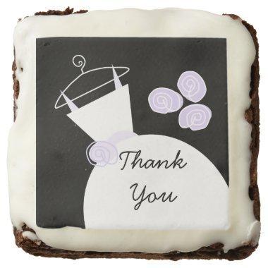 Wedding Gown Purple 'Thank You' brownies black