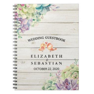 Wedding Guestbook Watercolor Succulent Rustic Wood Notebook