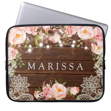 Wedding Lace Rustic Roses Floral Computer Sleeve