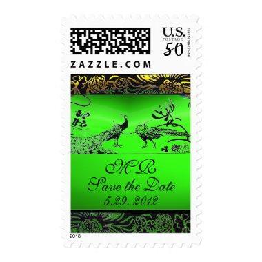 WEDDING LOVE BIRDS MONOGRAM black green emerald Postage