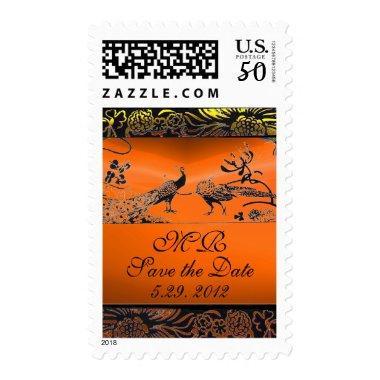 WEDDING LOVE BIRDS MONOGRAM black yellow orange Postage