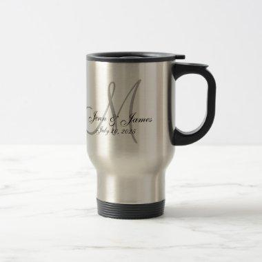 Wedding Monogram Bride Groom Names Date Newlyweds Travel Mug