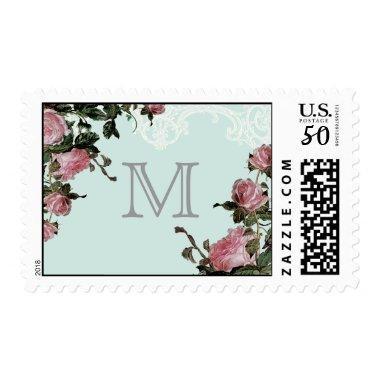 Wedding Monogram Letter Stamp Trellis Rose Vintage
